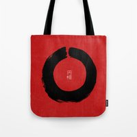 buddhism Tote Bags featuring ENSO IN JAPAN by THE USUAL DESIGNERS