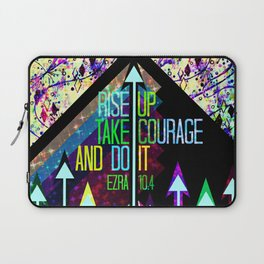 RISE UP TAKE COURAGE AND DO IT Colorful Geometric Floral Abstract Painting Christian Bible Scripture Laptop Sleeve