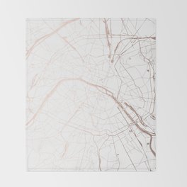 Paris France Minimal Street Map - Rose Gold Glitter Throw Blanket