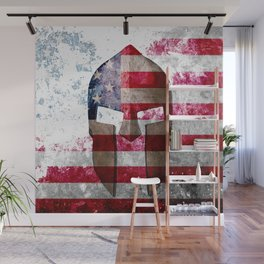 Molon Labe - Spartan Helmet Across An American Flag On Distressed Metal Sheet Wall Mural
