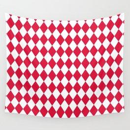 Diamonds (Crimson/White) Wall Tapestry