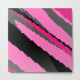 Pink black and gray zigzag Metal Print