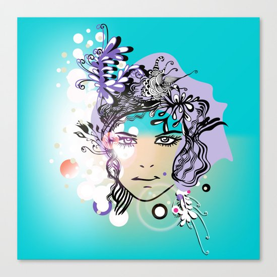 floral girl illustration Canvas Print