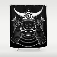 samurai Shower Curtains featuring Samurai by JaymesGraphics