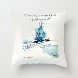 Peace On Earth Greeting Card Throw Pillow