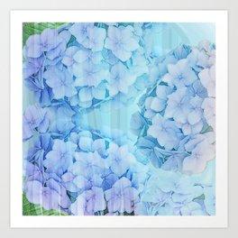 Blue Hydrangea flowers, mixed media art Art Print