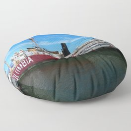 Riverboat Legacy and Fireship Columbia on Columbia River Floor Pillow