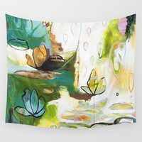 "flora bowley Wall Tapestries featuring ""Rise Above"" Original Painting by Flora Bowley by Flora Bowley"