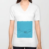 the whale V-neck T-shirts featuring Whale by David Penela