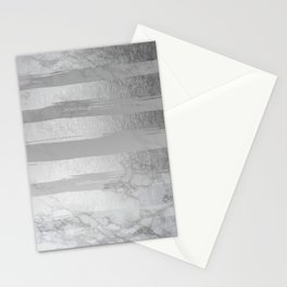 Silver Stripes on Black and White Marble Stationery Cards