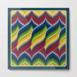 Bargello Quilt Pattern Impression 3 - red, blue, green, gold, ombre Metal Print