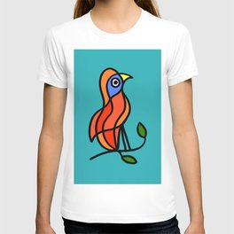 Color Bird on a Twig on Blue T-shirt