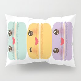 Kawaii macaroon funny orange blue lilac cookie with pink cheeks with pink cheeks and big eyes Pillow Sham