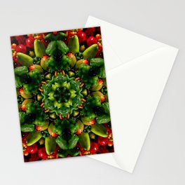Peppy pepper mandala - green center Stationery Cards