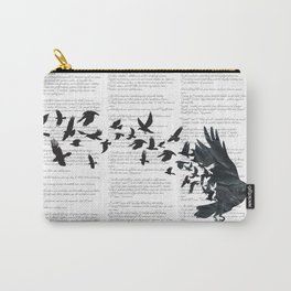 Vintage Style Print with Poem Text Edgar Alan Poe: Edgar Alan Crow Carry-All Pouch