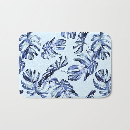 Tropical Palm Leaves Blue Bath Mat