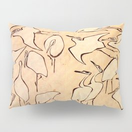 "Katsushika Hokusai ""Cranes from Quick Lessons in Simplified Drawing"" (1823)(original) Pillow Sham"