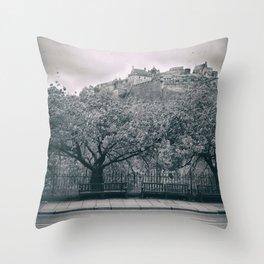 edinburgh castle Scotland vintage style view black and white dirty Throw Pillow