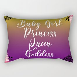 Floral Garden Baby Girl Princess Queen Goddess Typography Rectangular Pillow
