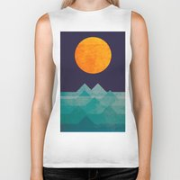 summer Biker Tanks featuring The ocean, the sea, the wave - night scene by Picomodi