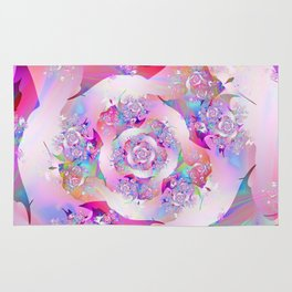 First Rose Abstract Fractal Art Rug