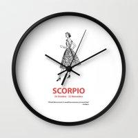 scorpio Wall Clocks featuring Scorpio by Cansu Girgin