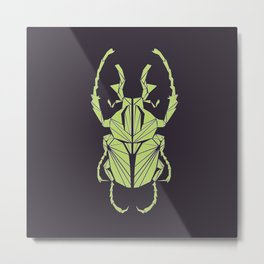 Envious Beetle - Geometric Insect Design Metal Print