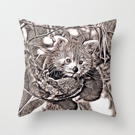 Rustic Style - Red Panda Throw Pillow