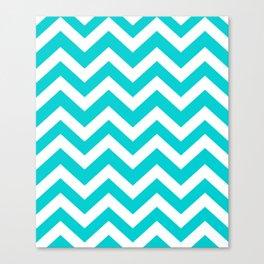 Dark turquoise - turquoise color - Zigzag Chevron Pattern Canvas Print