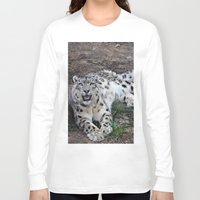 snow leopard Long Sleeve T-shirts featuring Snow Leopard by Kaleena Kollmeier