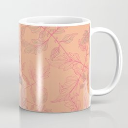 Tomatoes leaves in coral Pantone palette Coffee Mug