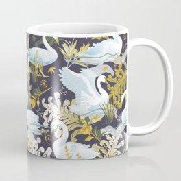 White swans   charcoal purple Coffee Mug