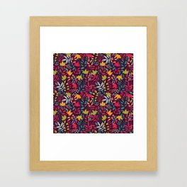 Autumn seamless pattern with floral decorative elements, colorful design Framed Art Print