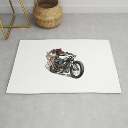 Drunken Wolf Riding Classic Chopper Bike Rug