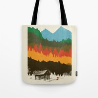 hunting Tote Bags featuring Hunting Season by dan elijah g. fajardo