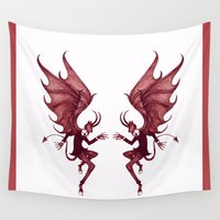 diablo Wall Tapestries featuring Double Diablo by Little Bunny Sunshine