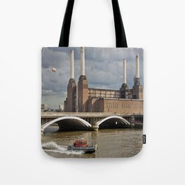 Battersea Power Station with Pink Floyd Pig Tote Bag