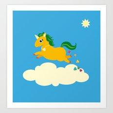 The golden unicorn of glitter poo Art Print