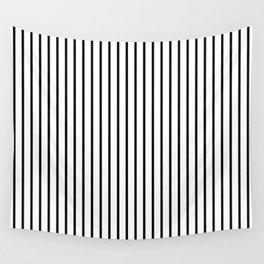 Black Pinstripe On White Pattern Wall Tapestry