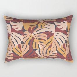 Color Block Monstera Leaves in Maroon Rectangular Pillow