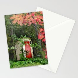 The Red Outhouse Door Stationery Cards