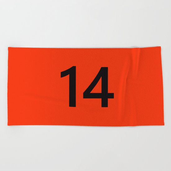 Legendary No. 14 in orange and black Beach Towel