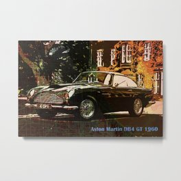 Aston Martin DB4 GT 1960 vintage classic car on New Orleans colorful map Metal Print