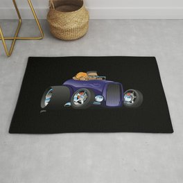 Highboy hotrod deep purple roadster with driver and cute passenger Rug