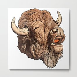 Bad Buffalo Metal Print