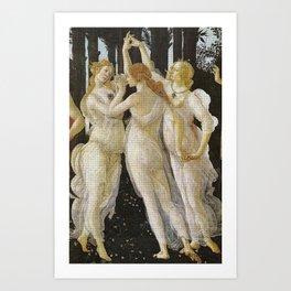 My Boticelli Serie :  Three Graces in Primavera Art Print