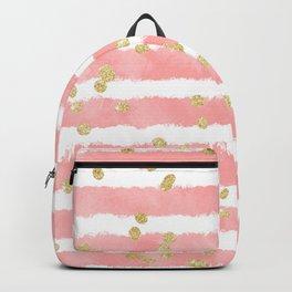 Modern blush pink watercolor stripes gold confetti pattern Backpack
