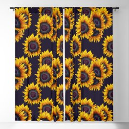 Sunflowers yellow navy blue elegant colorful pattern Blackout Curtain