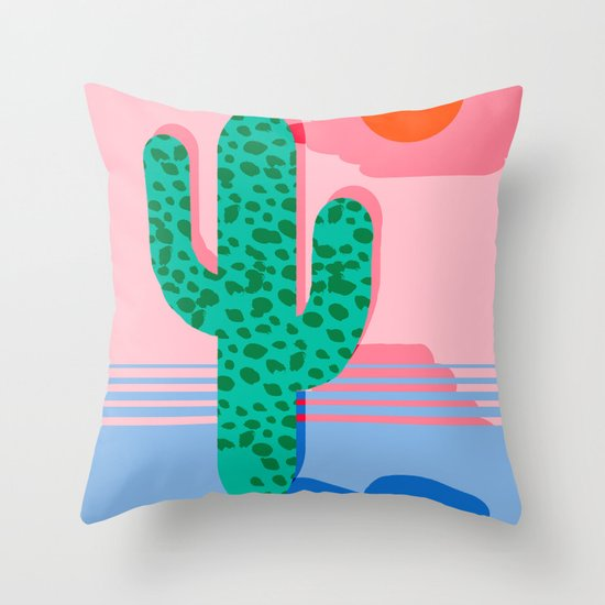 No Foolin - retro throwback neon art design minimal abstract cactus desert palm springs southwest  Throw Pillow