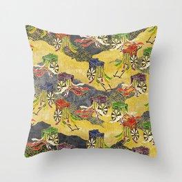 Oriental wagon pattern vintage Throw Pillow